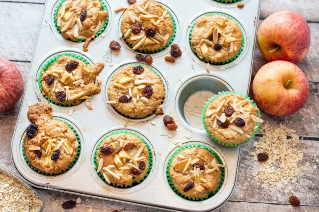 recept ontbijt muffins met appel gezond glutenvrij suikervrij