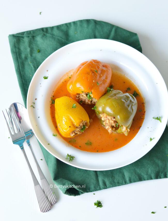recept voor gevulde paprika met gehakt en rijst punjeni paprike © bettyskitchen.nl