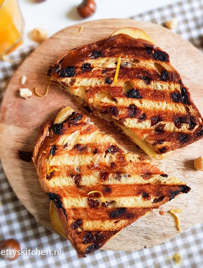 recept appeltaart tosti met appel mascarpone rozijnen tosti met krentenbrood © betty;s kitchen