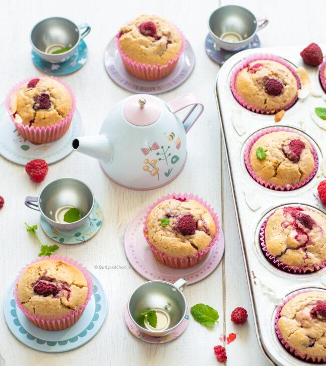recept muffins met frambozen en kokos