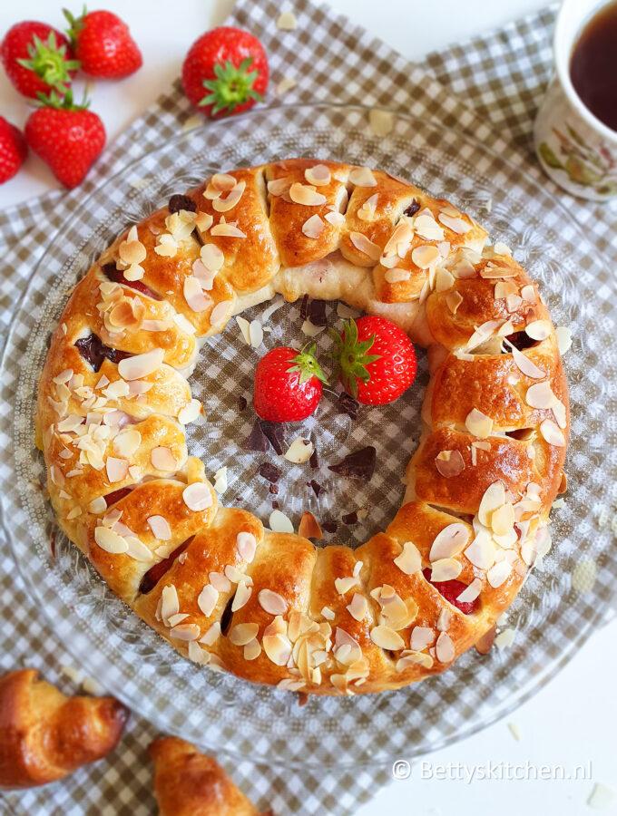 recept Croissant krans met aardbei en mascarpone