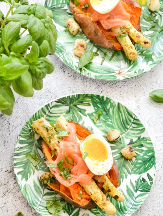 recept gepofte zoete aardappel met gegrilde asperges © bettyskitchen.nl
