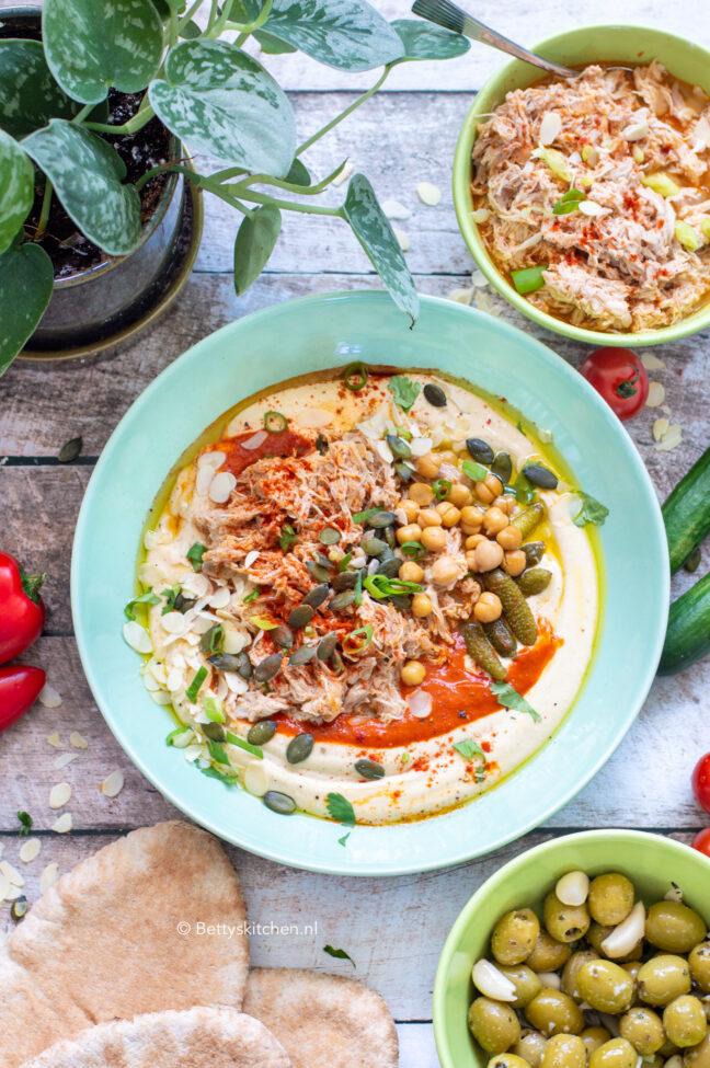 recept hummusbowl met pulled chicken © bettyskitchen