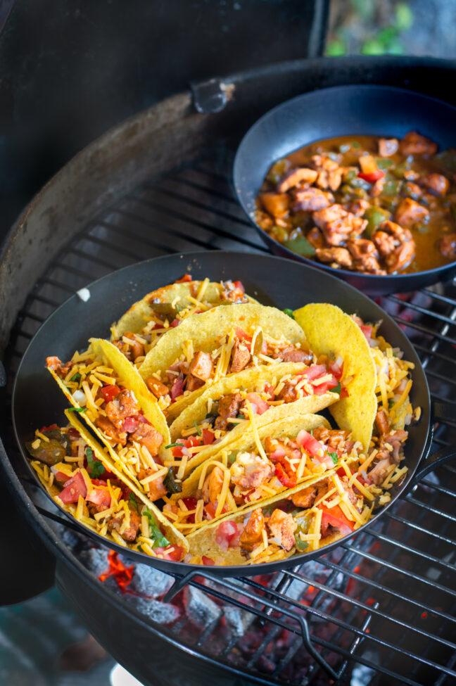 recept taco's met pittige kip van de bbq