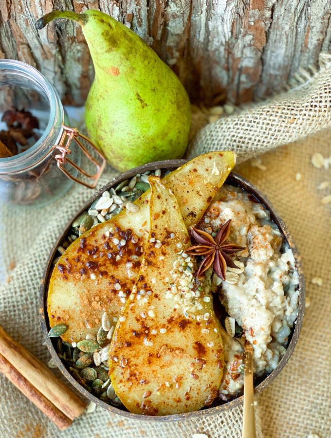 herfst havermoutpap met gebakken peer © bettyskitchen.nl