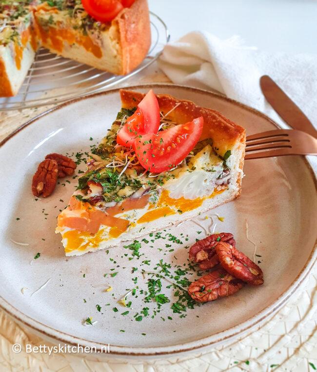 recept quiche met zoete aardappel, bloemkool en pompoen © bettyskitchen.nl