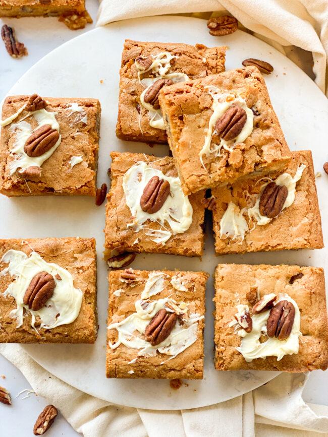 recept blondies met pecannoten maken © bettyskitchen.nl 10x brownies en blondies recepten voor een blue monday Betty's Kitchen