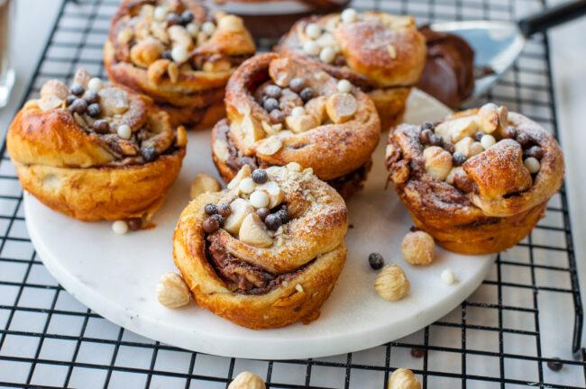 recept cruffins met nutella © bettyskitchen.nl croissant muffins maken met nutella en hazelnoten pasta met chocolade