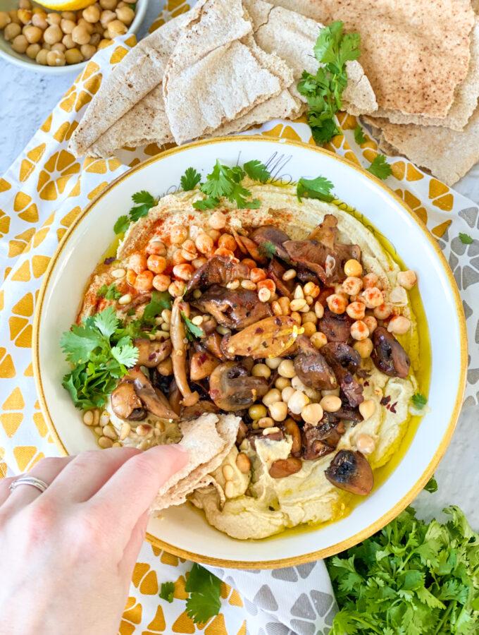 recept hummus bowl met champignons © bettyskitchen.nl