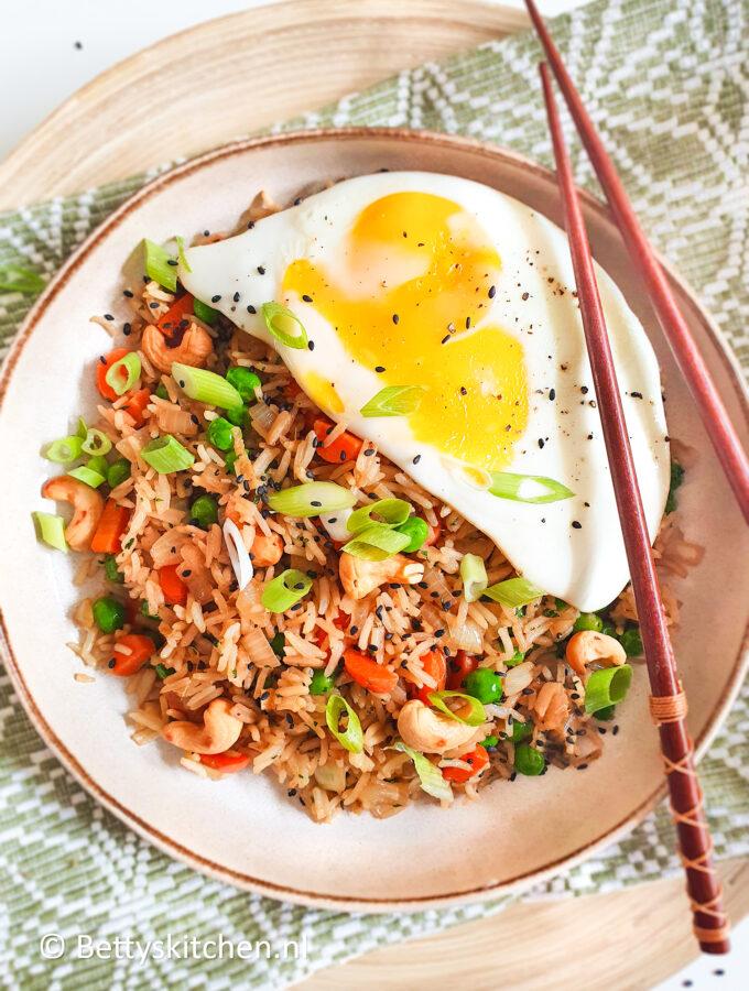 recept gebakken rijst met ei fried rice maken © bettyskitchen.nl