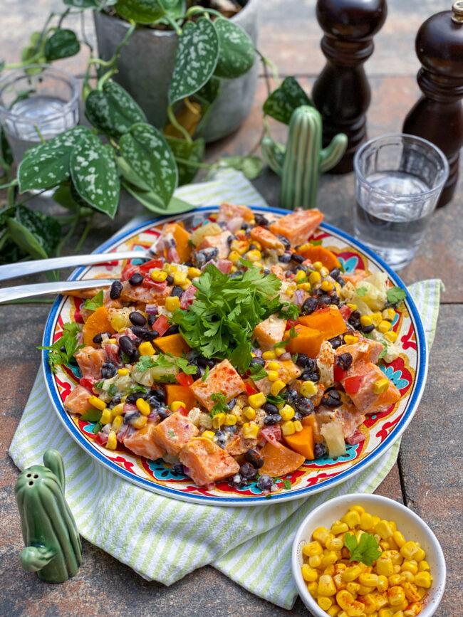 recept zoete aardappel salade met mais en bonen © bettyskitchen.nl