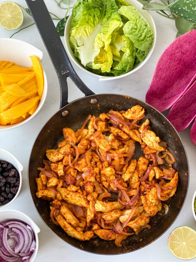 recept lunch fajitas met kip en mango © bettyskitchen.nl